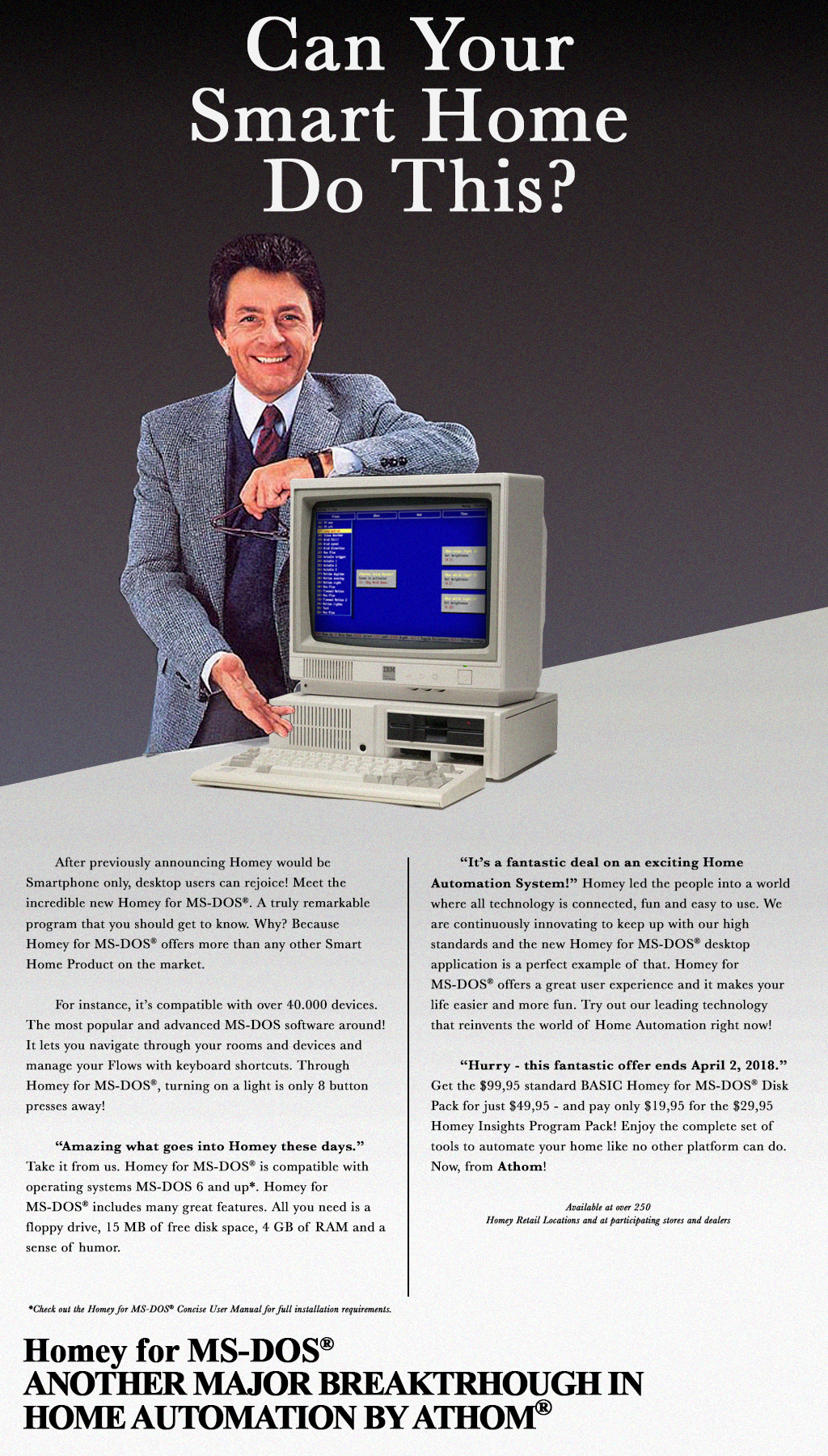 Homey for MS-DOS® — The Smart Home of the future on yesterday's machine